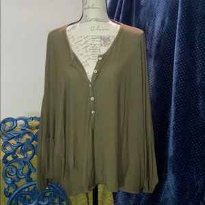 FREE PEOPLE SLOUCH BEACH ARMY GREEN XS/S NWT